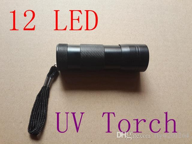 Free Shipping Hot sale! 12 LED UV Flashlight Ultra Violet Camp Lamp Torch Anti-fake UV Flash Light,100pcs/lot