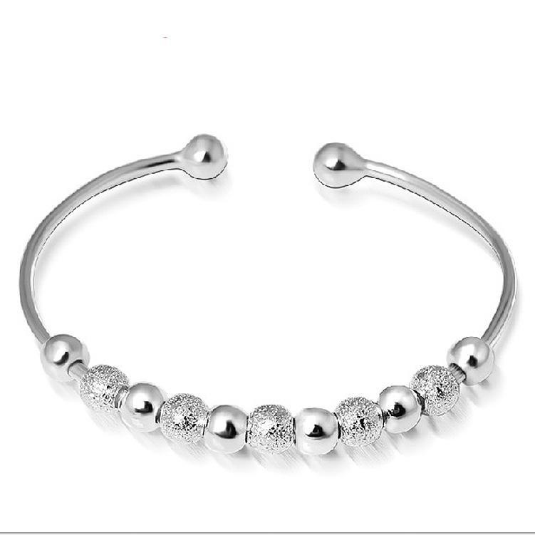 Ювелирные изделия женщин стерлингового серебра 925 пробы покрыты бусинами мяч манжеты браслет ручной орнамент манжеты браслеты резьба регулируемый полный вес бесплатно DHL