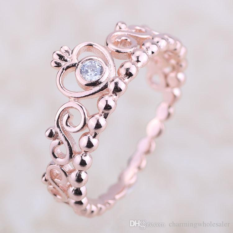 c5ec5e6dc Princess Tiara Ring Crown Rose Gold Plated Original S925 Silver Fits for  Pandora Style Jewelry H8ale H8 Pandora Rose Gold Ring Crown Pandora Rings  Crown ...