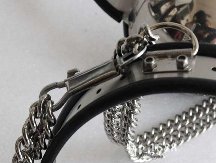 Nuovo caldo !! Cintura di castità in acciaio a T regolabile femminile / Coscia / reggiseno / colletto / manette set 5 pezzi in 1 set di castità i