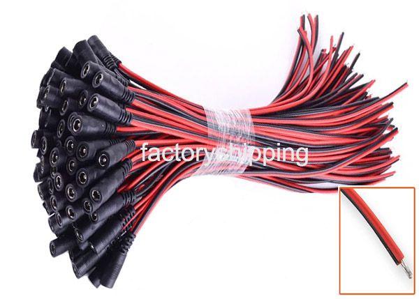 DC Strömkontaktkabel 12V Monitor Connector CCTV Säkerhetskamera Power Pigtail 2.1mm Kvinna Male Kabel FedEx / DHL Gratis frakt
