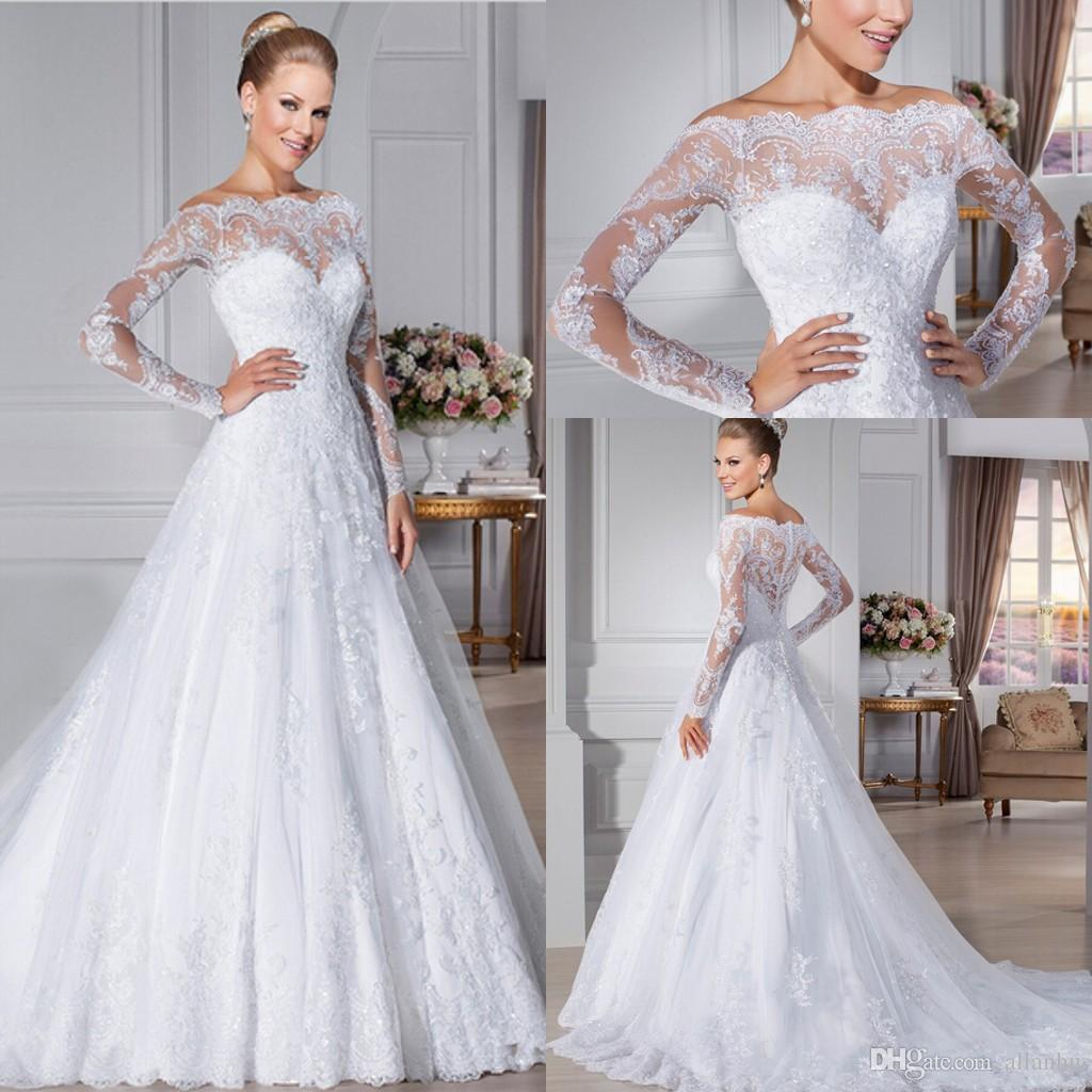 Discount 2016 Glamorous Button Back Lace Wedding Dresses Off The