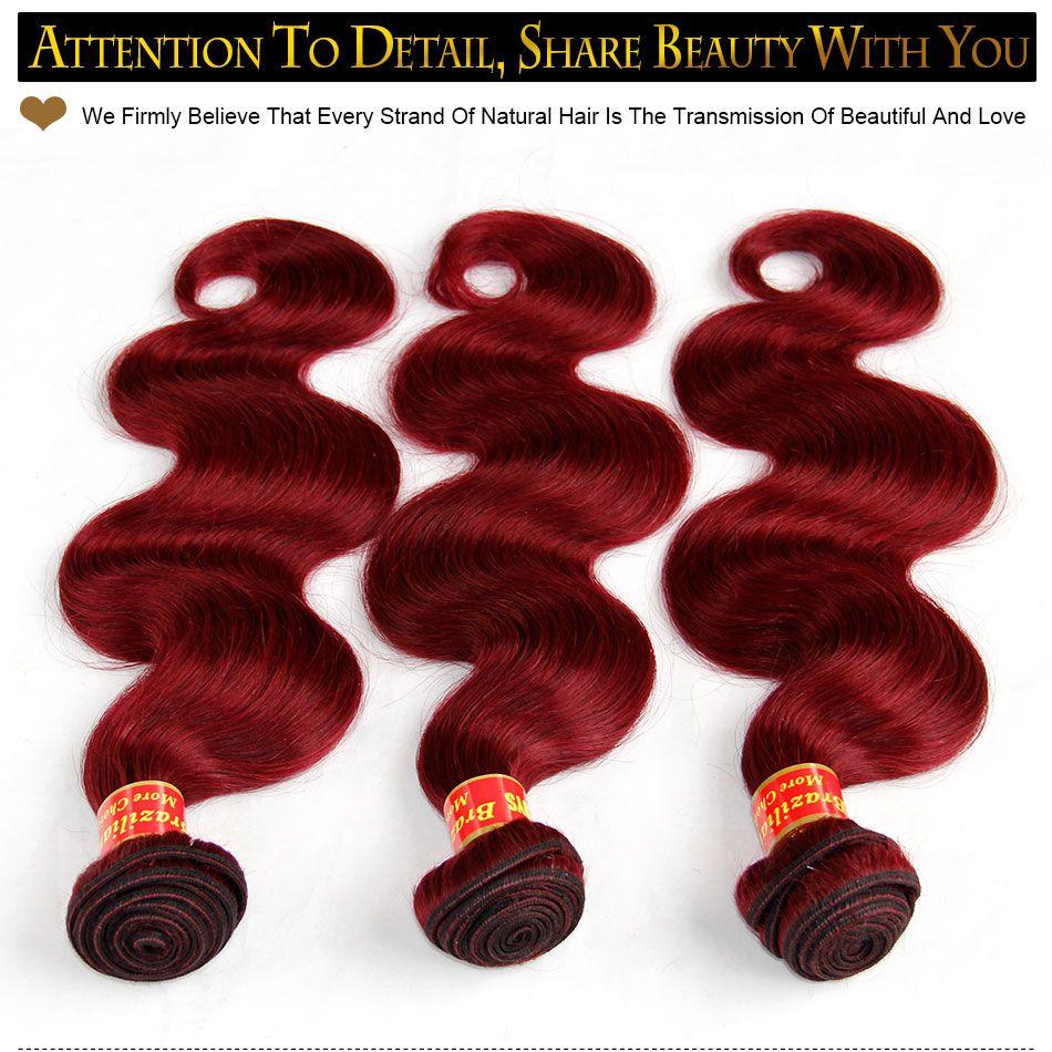 Burgundy Brazilian Virgin Hair Weaves Bundles Body Wave Virgin Peruvian Malaysian Indian Remy Human Hair Extensions Wine Red 99J Thick Soft