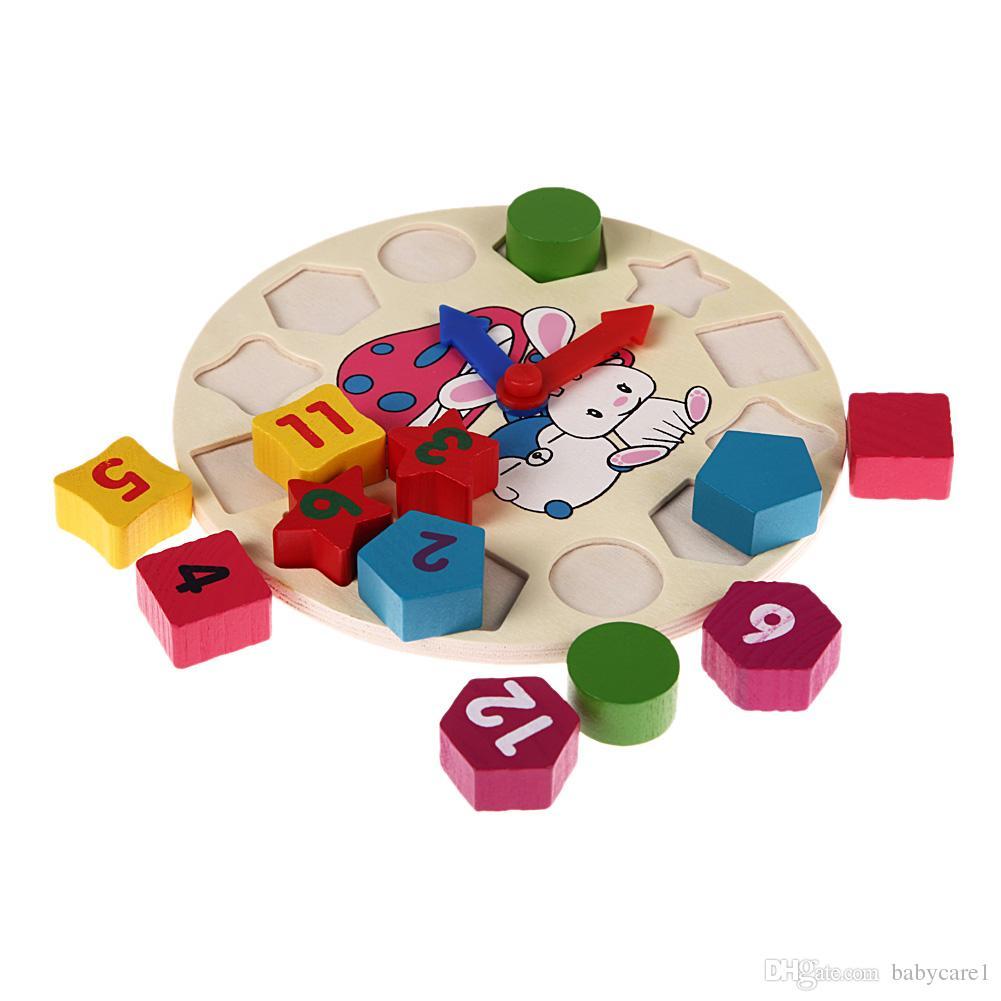 Holz 12 Anzahl Uhr Spielzeug Baby Bunte Puzzle Digitale Geometrie Uhr Pädagogische Uhr Spielzeug Hohe Qualität für Kinder Kinder Geschenk