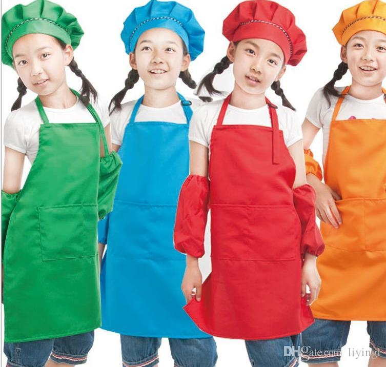 Plain Apron For Kids Kitchen Children Solid Aprons With Pockets Chef  Pinafore Polyester Garden Artist Painting