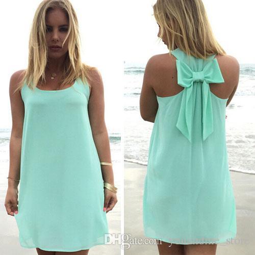 c0dedd8a7 Fashion Summer Style Dresses Bohemian Boho Sleeveless Sexy Women Short Mini  Chiffon Dress Back Bowknot Vestidos Casual Beach Party Dress B82 Cheap  Evening ...
