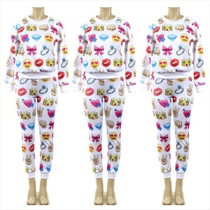 2017 White Emoji Joggers Hoodies Pullover Top Sweatshirt Cartoon Jogging Pants Trousers Sports ...