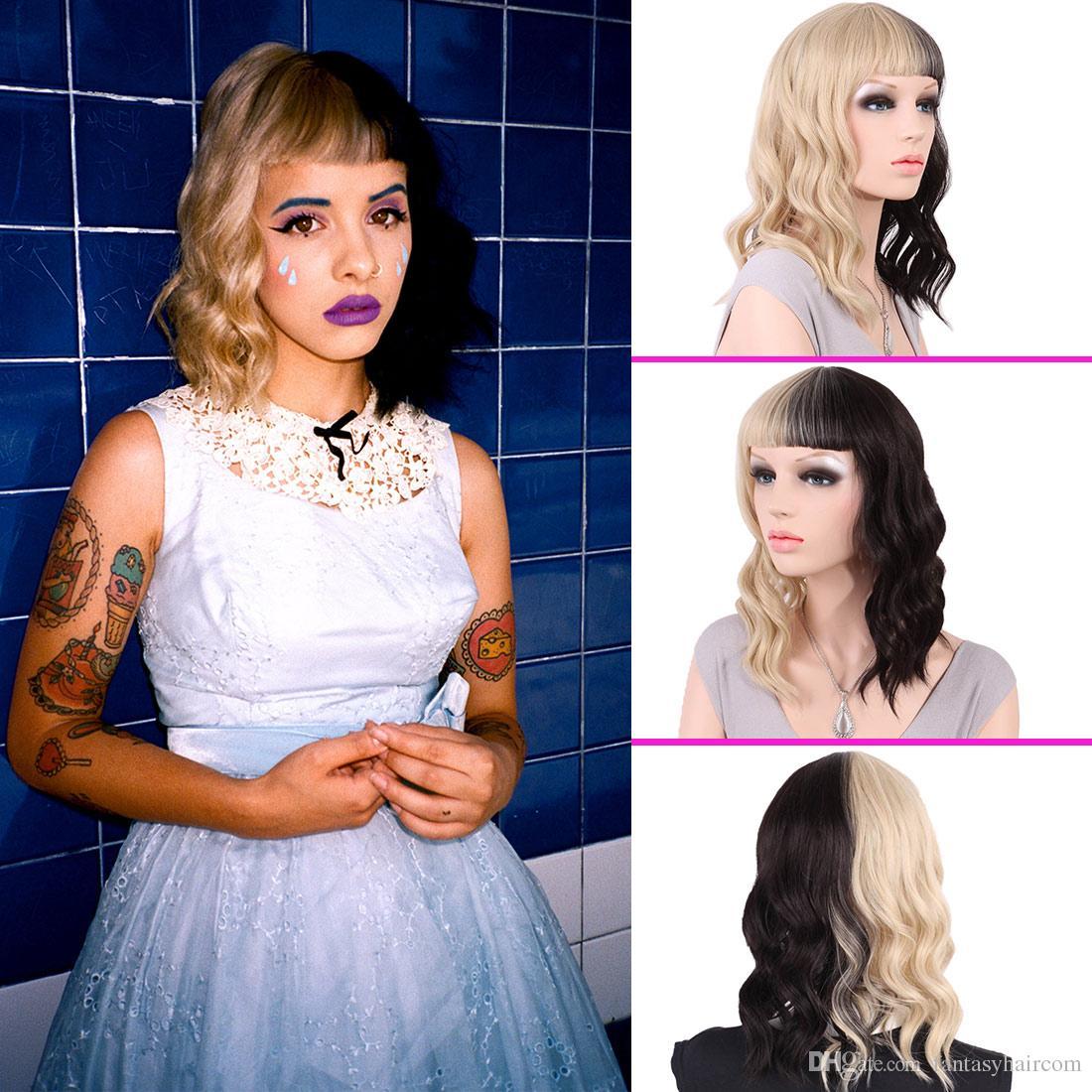 Super Half Black Half Blonde Synthetic Medium Wig Party Wig Melanie  HR04