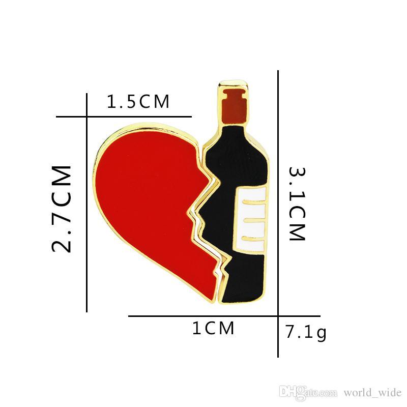 Wine Lover Jewelry Broken Heart Red Wine Bottle Metal Brooch Pins DIY Sweater Denim jacket Enamel Pin Badge Gift