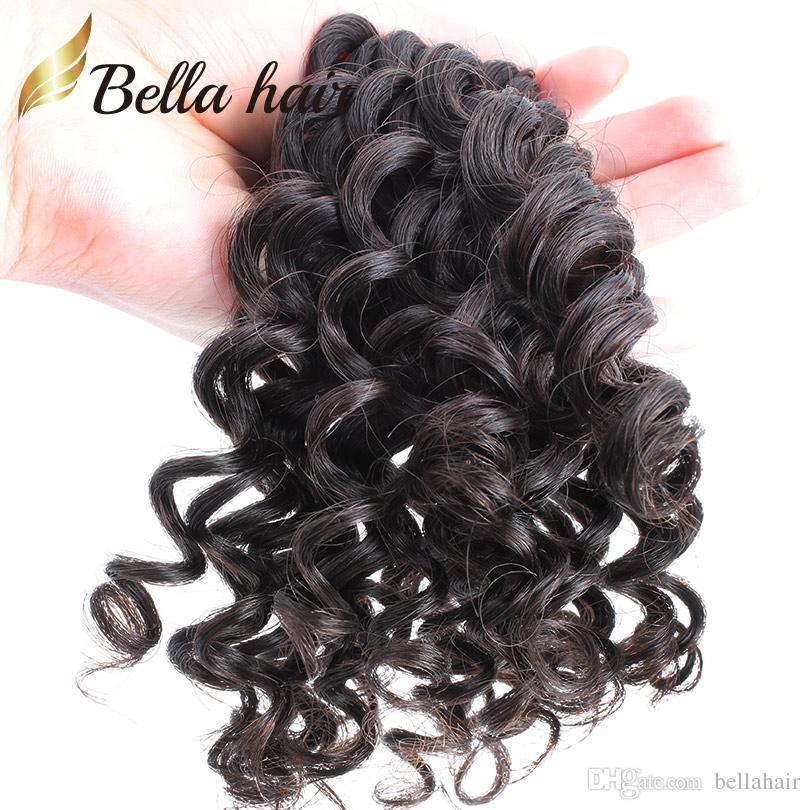 ベラの髪100%未処理のバージンペルーの髪の束のレースの閉鎖3ピースの深い波の波状4x4レースの閉鎖フリーパートベビーヘア