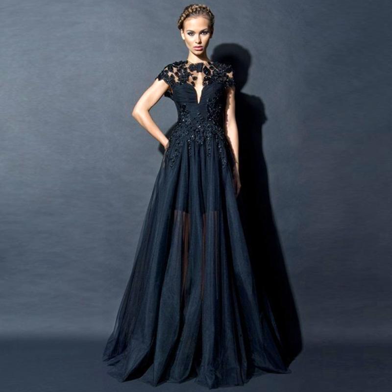 Zuhair Murad Black Evening Dresses Wear Transparent Skirt A Line ...