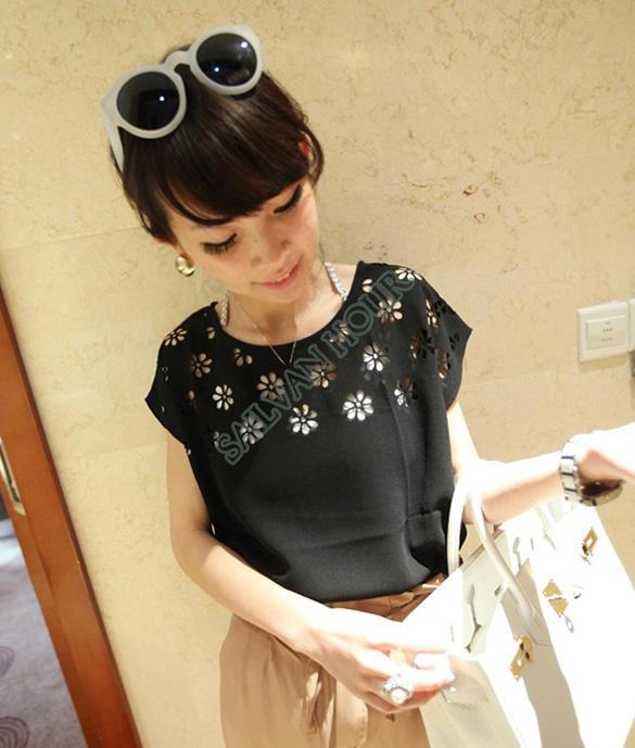 Yüksek kalite ! Moda 2014 Yeni Kadın Yaz Seksi Gömlek Çiçekler Hollow Gevşek Batwing Kollu Ekip Boyun Şifon T-Shirt b7 20210