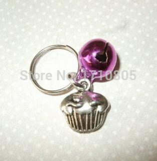 Hot 50pcs Fashion Vintage Silver Cupcake&Mix Bell Charm Anti-Theft Keychain Gift Fit Key Circle Accessories Jewelry Free A269