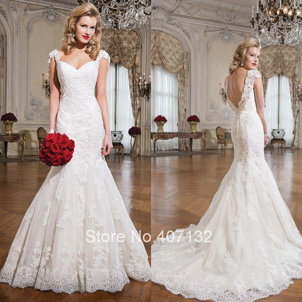 Cheap White Ivory Wedding Dresses Mermaid Lace Appliques: 2015 New Arrival Mermaid White Ivory Custom Made Formal