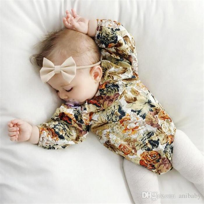 Baby girls retro flower pattern romper chic infants floral cloth long sleeve onesie elastic collar ins hot for 0-2T A08