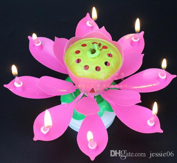 2 layer petals flowering Music candle Birthday Party Lotus Sparkling Flower Candles light fireworks Event Festive Supplies cake accessory