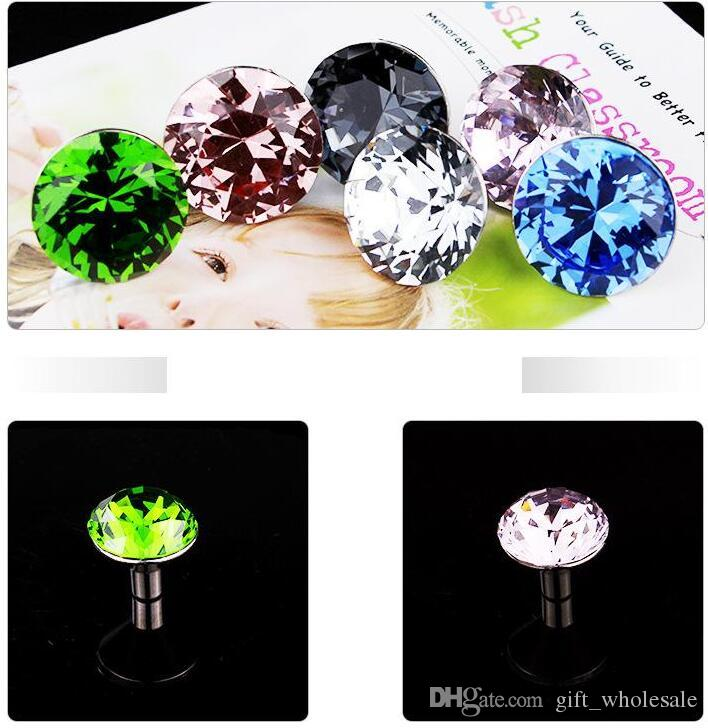 10pcs/lot wholesale 30mm Diamond Shape Crystal Glass Pull Handle Cupboard Cabinet Drawer Door Furniture Knobs