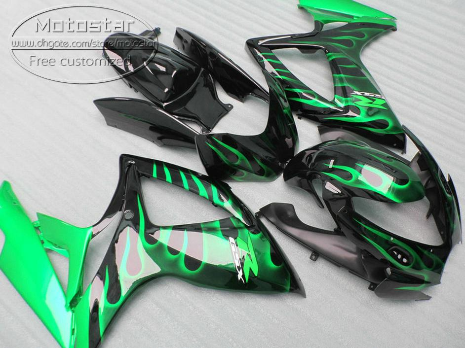 Kit de carenagem de plástico Freeship para SUZUKI GSXR 600 GSXR 750 06 07 Carabinas de carenagem verde K6 GSX-R600 / 750 2006 2007 V78F