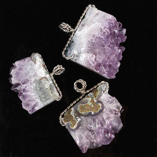Оптовая 10 шт. серебро / золото покрытием обмотки природный аметист кварц Кристалл Drusy драгоценный камень случайная форма камень кулон ювелирные изделия