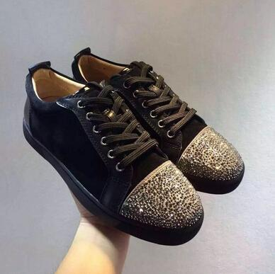 Red Bottom Sneakers Men Black Low Top Lace Shoes Diamond Shoes Red