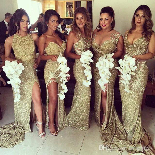 Gold Sparkling Bridesmaids Dresses Sexy High Side Split Sheer Neckline Floor Length Maid of Honor Gowns Formal Dresses for Wedding Party