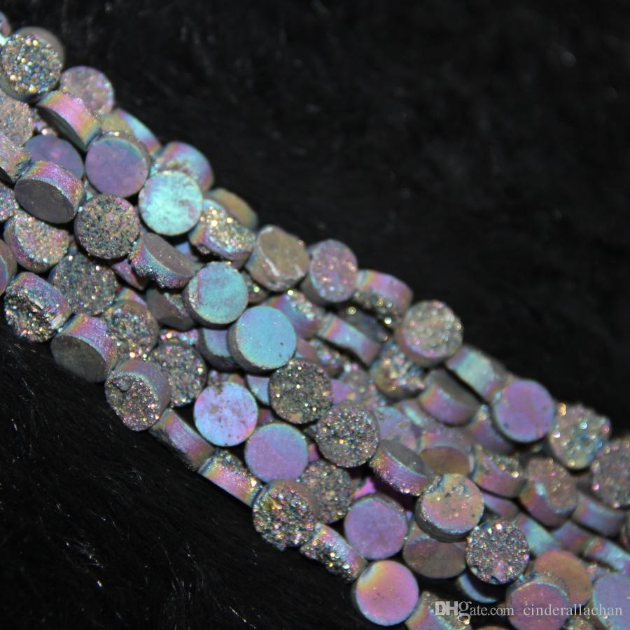 10mm 15.5inch 1Strand Titanium Rainbow Druzy Agate Beads Natural Gemstone Crystal Quartz Druzy Agate Necklace Pendant Jewelry Make Connector