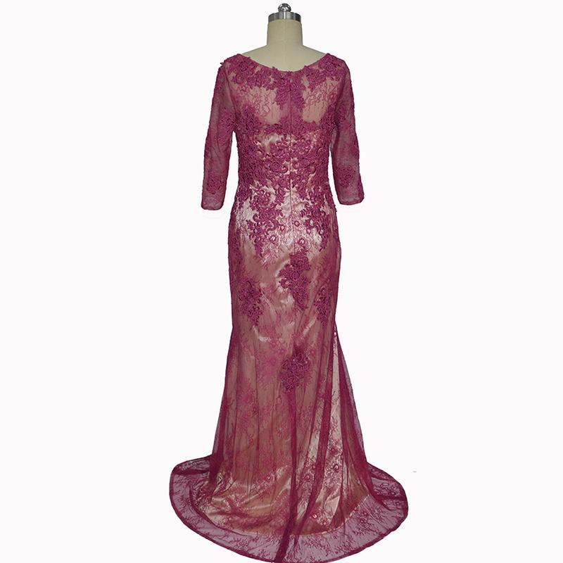 Vestidos Longos De Festa Mermaid Fucsia Piano Lunghezza maniche lunghe Madre della sposa Abiti 2016