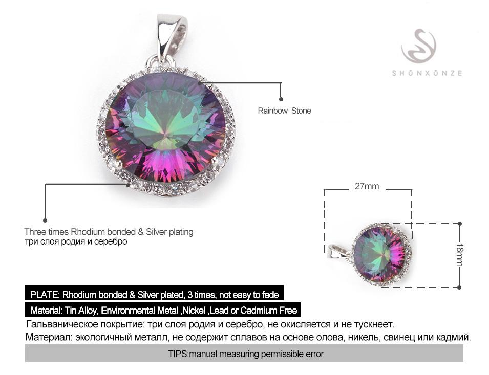 Romantic Rainbow Mystic Topaz fashion Silver Plated Pendants R736 First class products Recommend Promotion Favourite Best Sellers