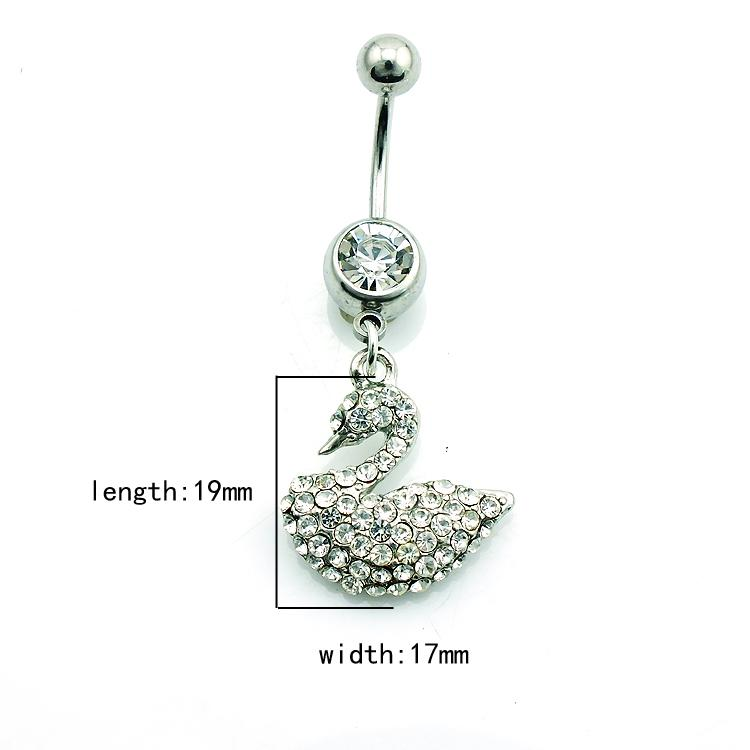 High Quantity Fashion Belly Button Rings Surgical Steel Dangle White Rhinestone Swan Navel Body Piercing Jewelry