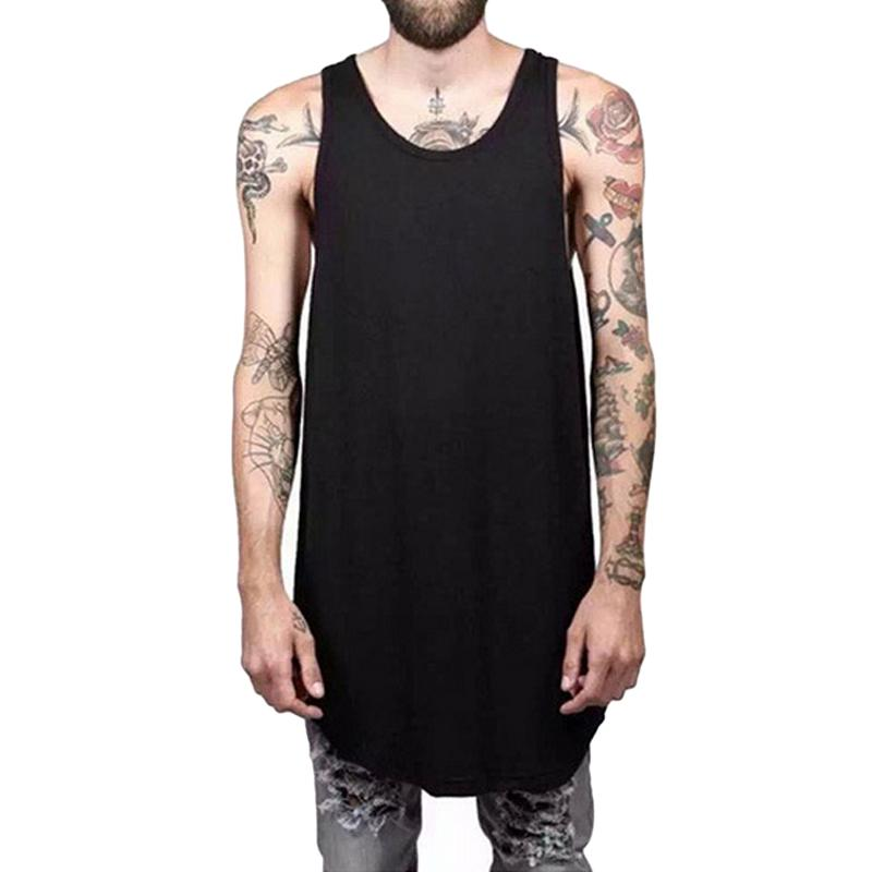 f14b9473207034 2019 Wholesale Fashion Men S Long Tank Tops Male T Shirt Extended Basic  Casual Hip Hop Crew Elongated Tee Tops Mens O Neck Loose Tank Tops F3 From  Yuanbai