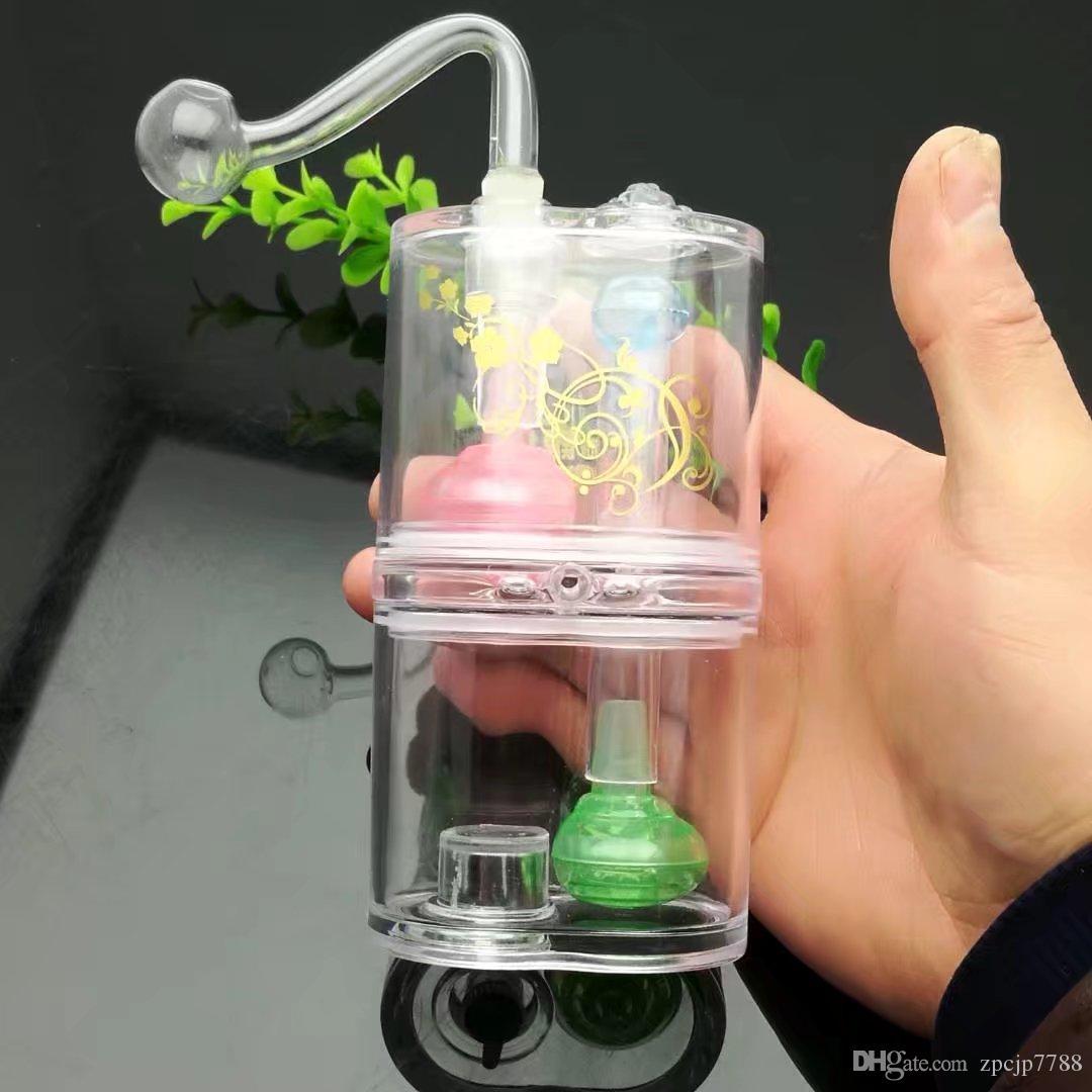 Doble acrílico Hookah, Venta al por mayor Bongs Quemador de aceite Tubos de vidrio Tubos de agua Tubería de vidrio Plataformas de aceite que fuman Envío libre