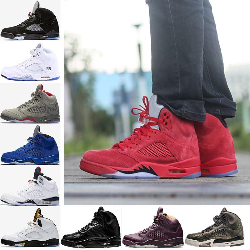 2018 5 Men Basketball Shoes Red Blue Suede Premium Bordeaux Camo