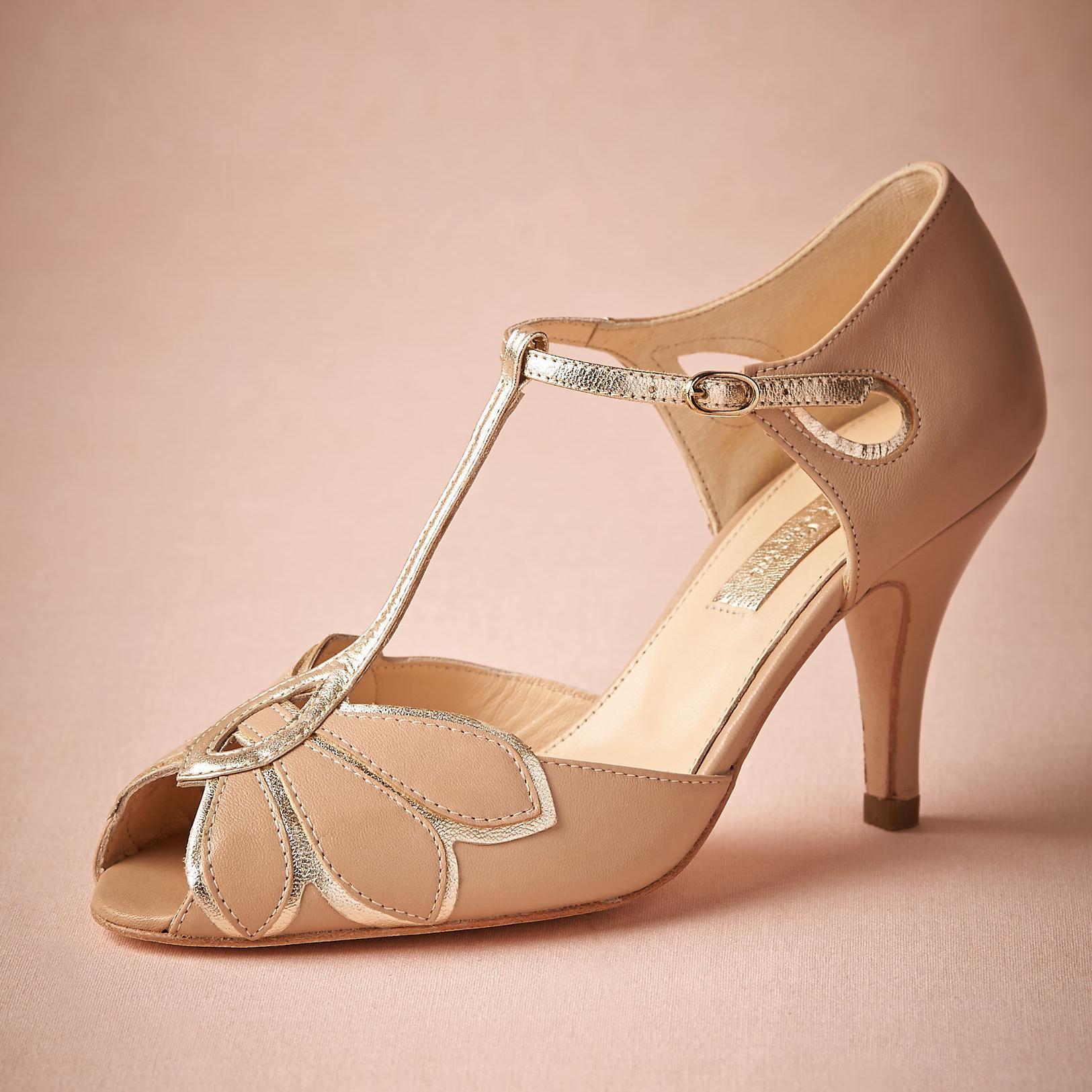2016 Real Vintage Blush Wedding Shoes For Women Pumps T Straps