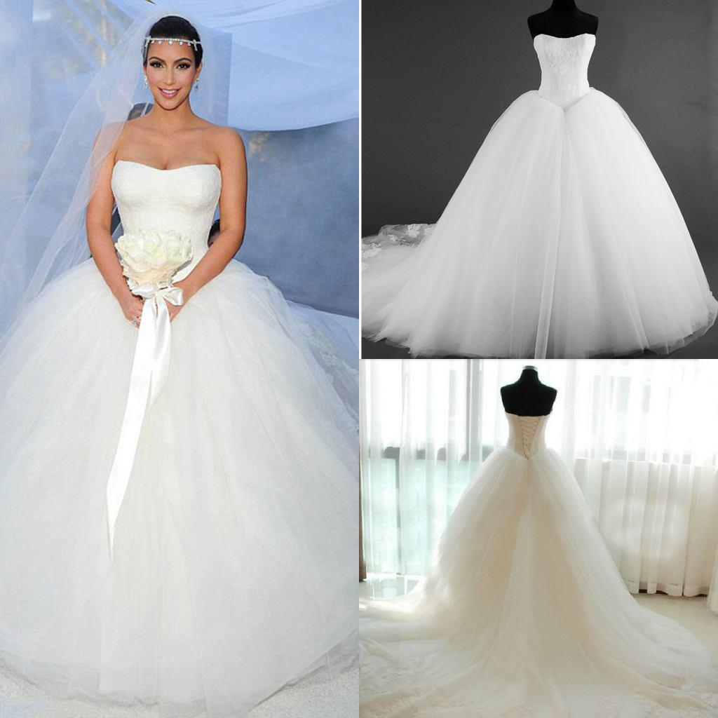Discount 2015 New Corset Kim Kardashian Bridal Gown Actual Images Hot Sale  Fashion Strapless A Line Wedding Dresses Bridal Gow Tulle White Lace Simple  ...