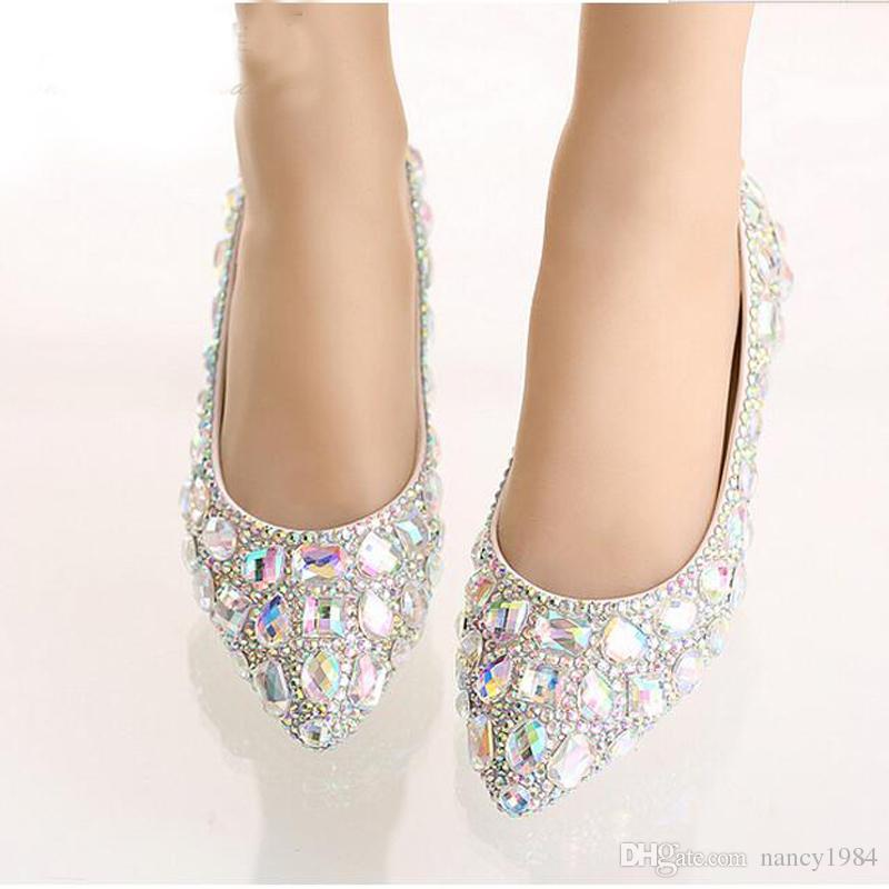 Flat Heel Pointed Toe Shoes Colorful Rhinestone Bride Shoes Flats Wedding Bridal Shoes Silver Red Pink Color Party Dancing Shoes