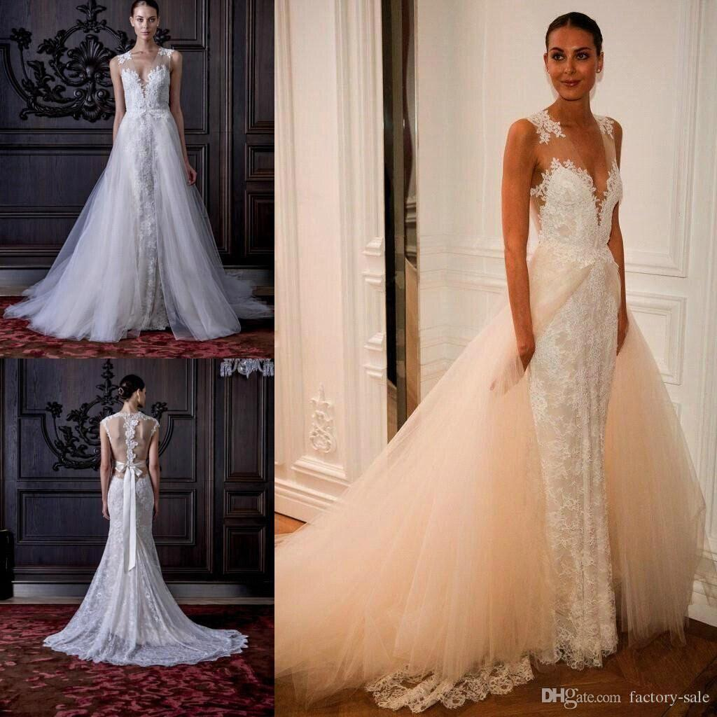 Plunging Neckline Lace Tulle Mermaid Overskirts Wedding Dresses 2016 Sexy Sleeveless Illusion Back Bow Sash Bridal Gowns Arabic Vestidos New