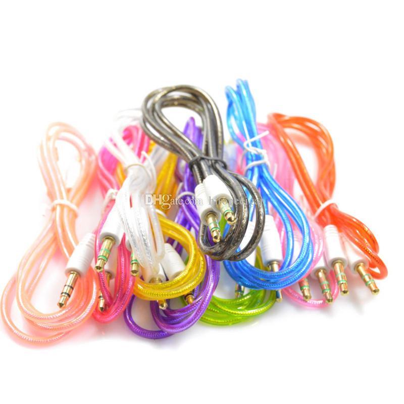 3.5mm Mâle à Mâle 1M Aux Câbles Audio Câbles Extension Stéréo De Voiture pour mp3 moblie téléphone voiture ipad