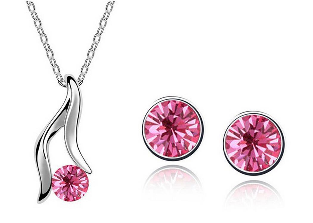 Austrian Crystal Necklace Earrings Sets High-heeled shose Jewelry Set Alloy Zircon Earrings Set Fashion Females Jewelry Set 1219