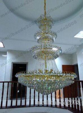 Penthouse Floor Villa Stairs Duplex Mansion Hotel Lobby Large Living Room Lamp K9 Crystal Chandelier Pendant Droplight Lighting NEW MYY16669