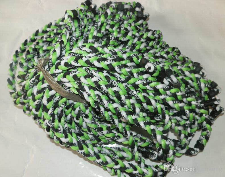 3 cuerdas tornado collar de titanio trenzado pelota de fútbol de germanioTitanio muchos colores tamaño 18