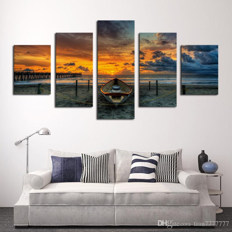 Unframed Large Hd Seascape With Ship Painting Top Rated Canvas Print