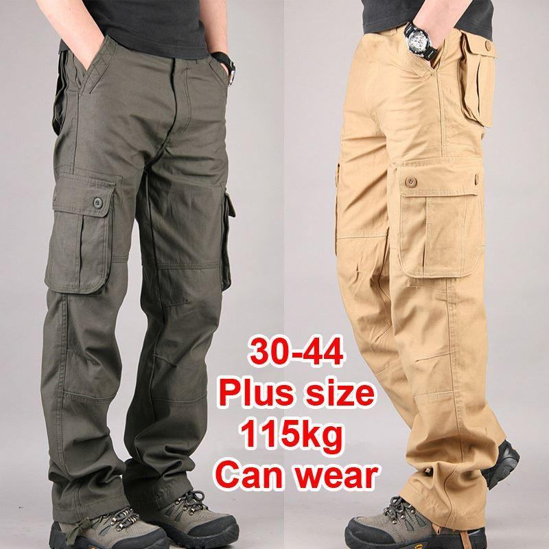 2d068ae0 30-44 Plus size High Quality Men's Cargo Pants Casual Mens Pant Multi  Pocket Military Overall for Men Outdoors Long Trousers