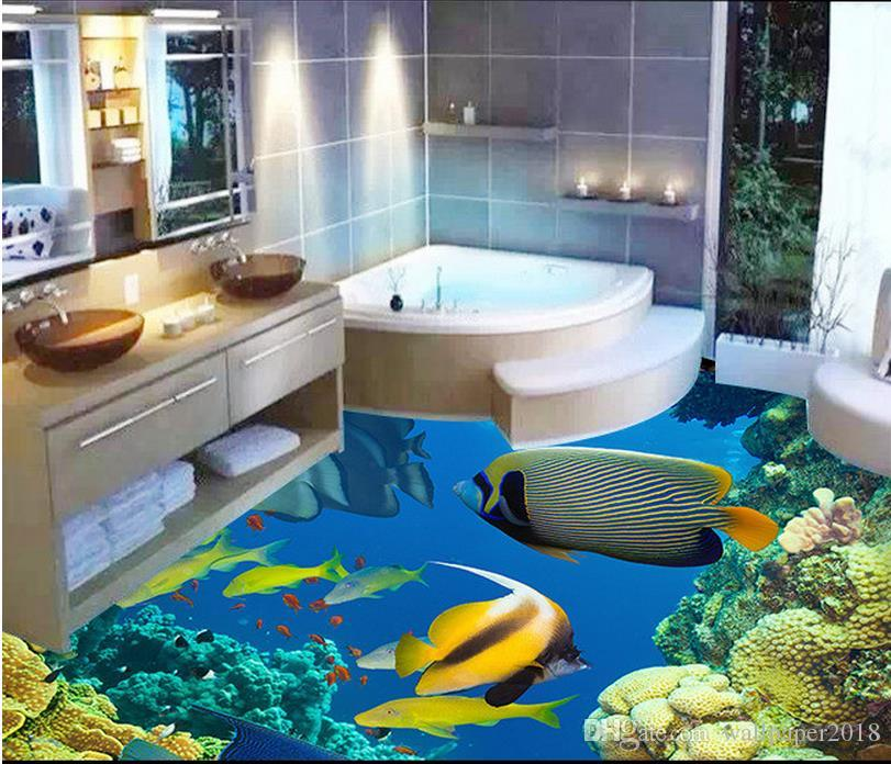 Vinyl Flooring 3D Ocean World Three Dimensional Floor Painting PVC Wallpaper 3d Self Adhesive Online With 9837 Square