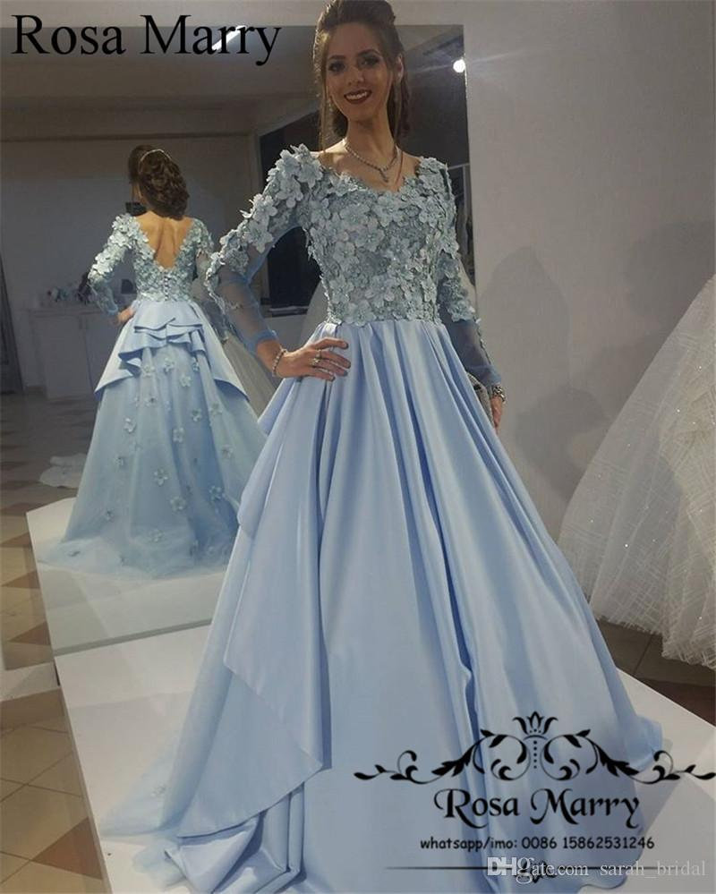 c26639dd857a Light Blue Muslim Arabic Prom Dresses 3D Flowers 2017 A Line Long Sleeves  Vintage Lace Beaded Plus Size Kaftan Turkey Formal Evening Gowns Gold Prom  Dress ...