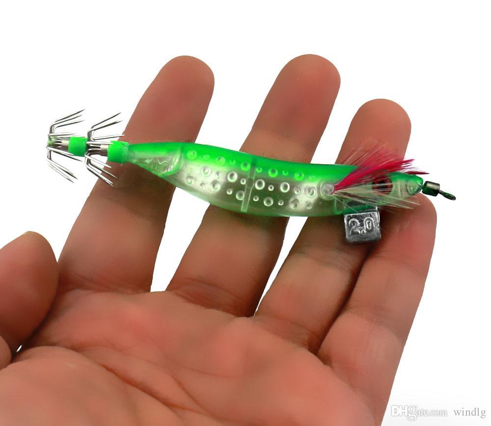 Hengjia pesca esche Squid Jig Ganci da 10 cm / 9g Gamberetti in legno Spinner artificiale LURE PLASTICA Gamberetti Bait Bait