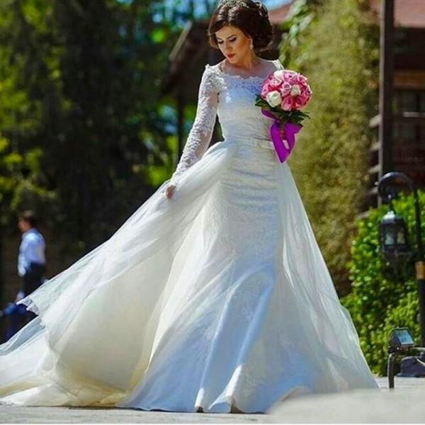 Underbar sjöjungfru bröllopsklänning med avtagbar tulle tåg två i en ren bateau halsrings illusion långa ärmar brudklänningar långa tåg
