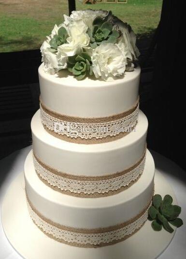 5 metre / grup 5 M Doğal Jüt Çuval Bezi Hessen Kurdele Dantel Trims Bant Rustik Düğün Dekor ile düğün pastası topper
