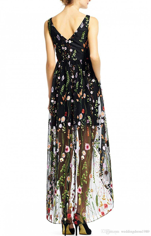 Сексуальные Высокие Низкие Платья Партии 2018 Черный V-образным Вырезом Цветочные Вышитые Цветочные Бальные Платья Пром Платье Вечернее Платье Robe De Soiree
