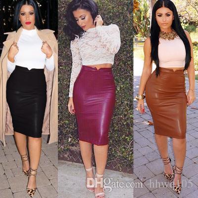 Woman Faux Leather Pencil Skirt Slim Fit Autumn Winter Bodycon ... 10d8337af3f1