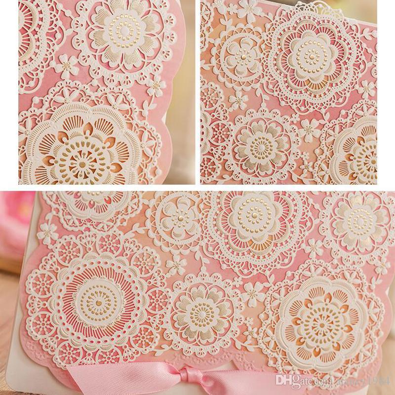 Spedizione gratuita Inviti di nozze di colore rosa Laser Cut Flower Wedding Invitation Card Casamento Partito Event Forniture CW5126
